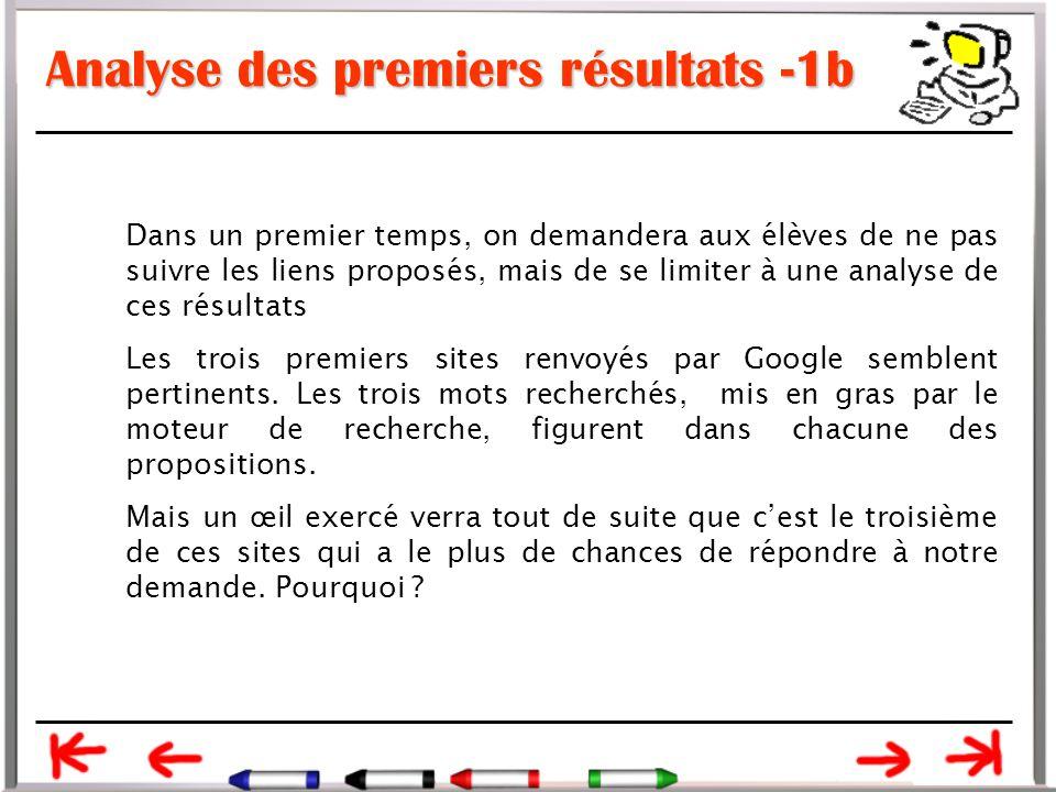 Analyse des premiers résultats -1b Dans un premier temps, on demandera aux élèves de ne pas suivre les liens proposés, mais de se limiter à une analyse de ces résultats Les trois premiers sites renvoyés par Google semblent pertinents.