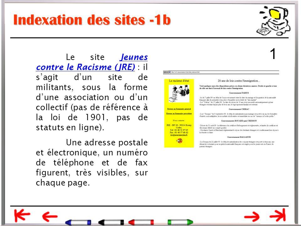 Indexation des sites -1b Le site Jeunes contre le Racisme (JRE) : il s'agit d'un site de militants, sous la forme d'une association ou d'un collectif (pas de référence à la loi de 1901, pas de statuts en ligne).Jeunes contre le Racisme (JRE) Une adresse postale et électronique, un numéro de téléphone et de fax figurent, très visibles, sur chaque page.