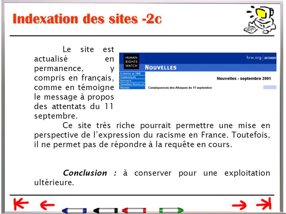 Indexation des sites -2c Le site est actualisé en permanence, y compris en français, comme en témoigne le message à propos des attentats du 11 septembre.
