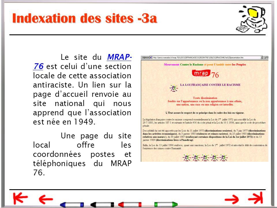 Indexation des sites -3a Le site du MRAP- 76 est celui d'une section locale de cette association antiraciste.