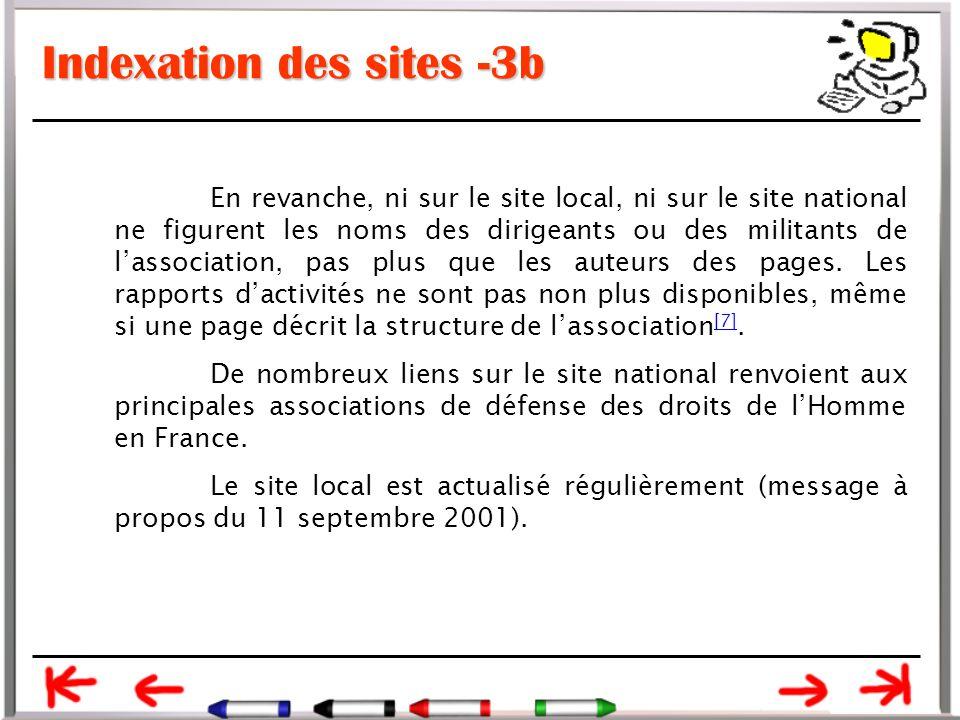 Indexation des sites -3b En revanche, ni sur le site local, ni sur le site national ne figurent les noms des dirigeants ou des militants de l'association, pas plus que les auteurs des pages.