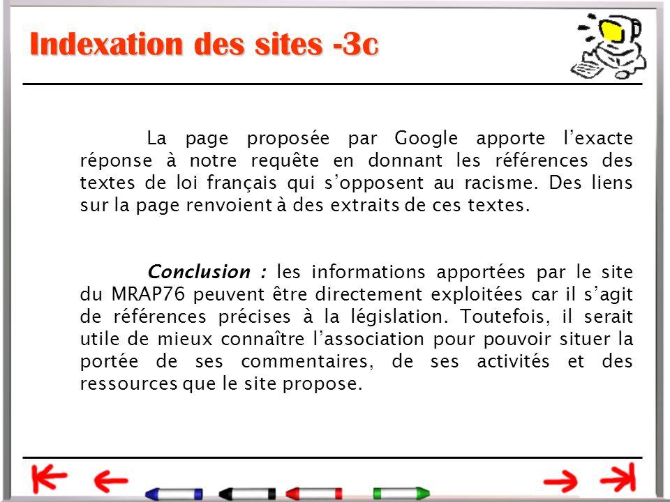 Indexation des sites -3c La page proposée par Google apporte l'exacte réponse à notre requête en donnant les références des textes de loi français qui s'opposent au racisme.