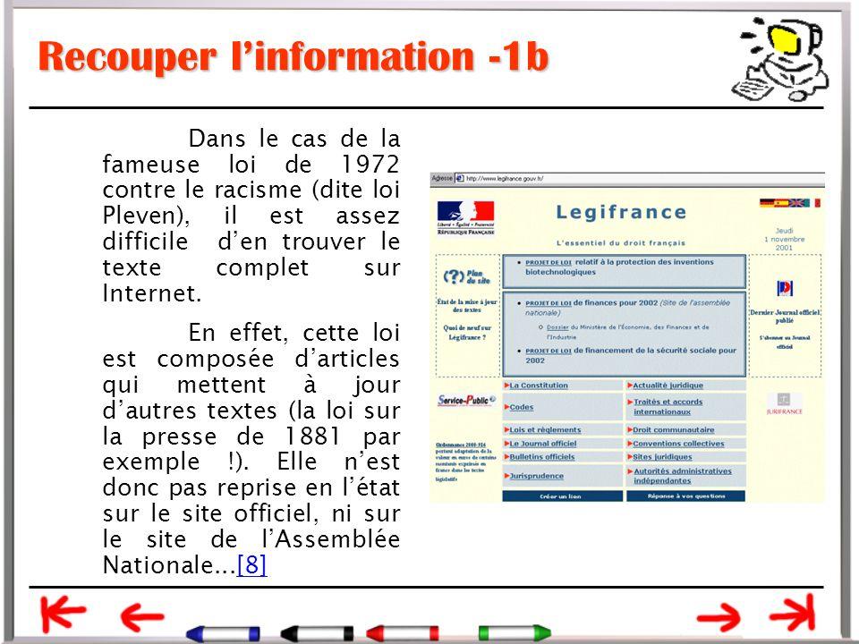 Recouper l'information -1b Dans le cas de la fameuse loi de 1972 contre le racisme (dite loi Pleven), il est assez difficile d'en trouver le texte complet sur Internet.