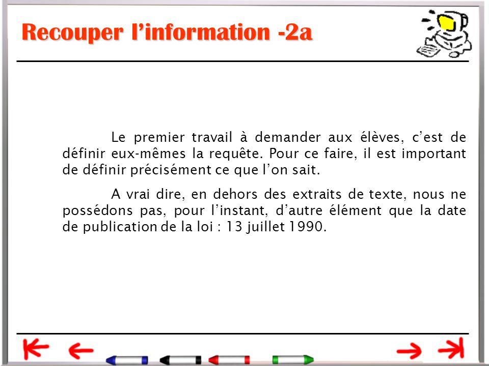 Recouper l'information -2a Le premier travail à demander aux élèves, c'est de définir eux-mêmes la requête.