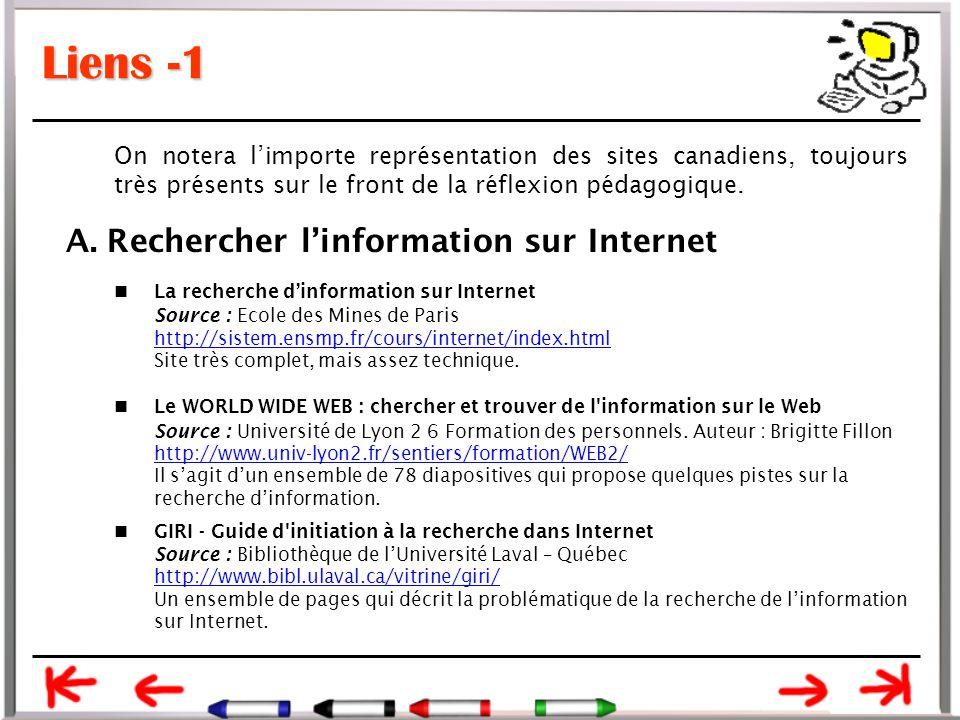 Liens -1 On notera l'importe représentation des sites canadiens, toujours très présents sur le front de la réflexion pédagogique.