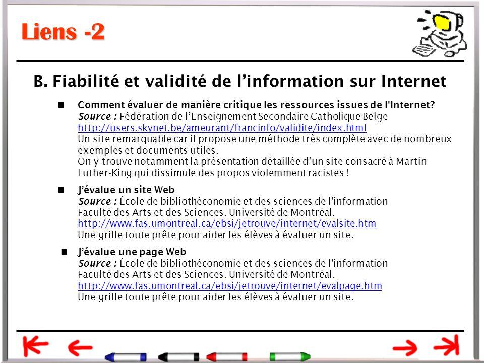 Liens -2 Comment évaluer de manière critique les ressources issues de l Internet.
