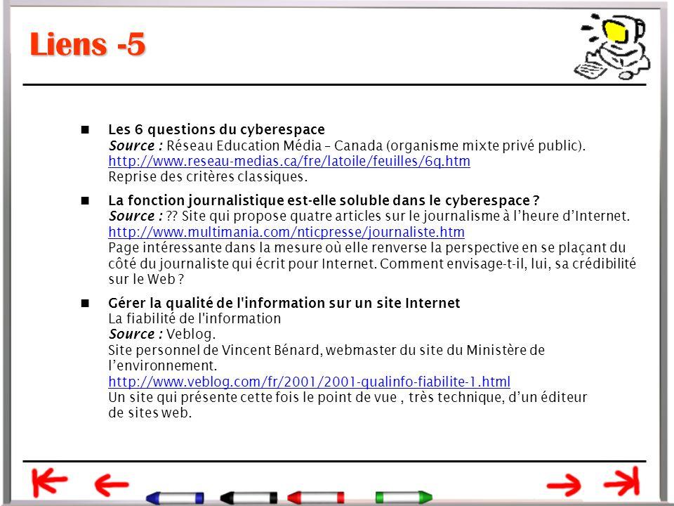 Liens -5 Les 6 questions du cyberespace Source : Réseau Education Média – Canada (organisme mixte privé public).