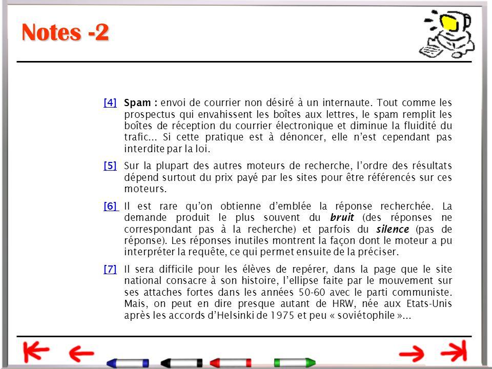Notes -2 [4][4]Spam : envoi de courrier non désiré à un internaute.