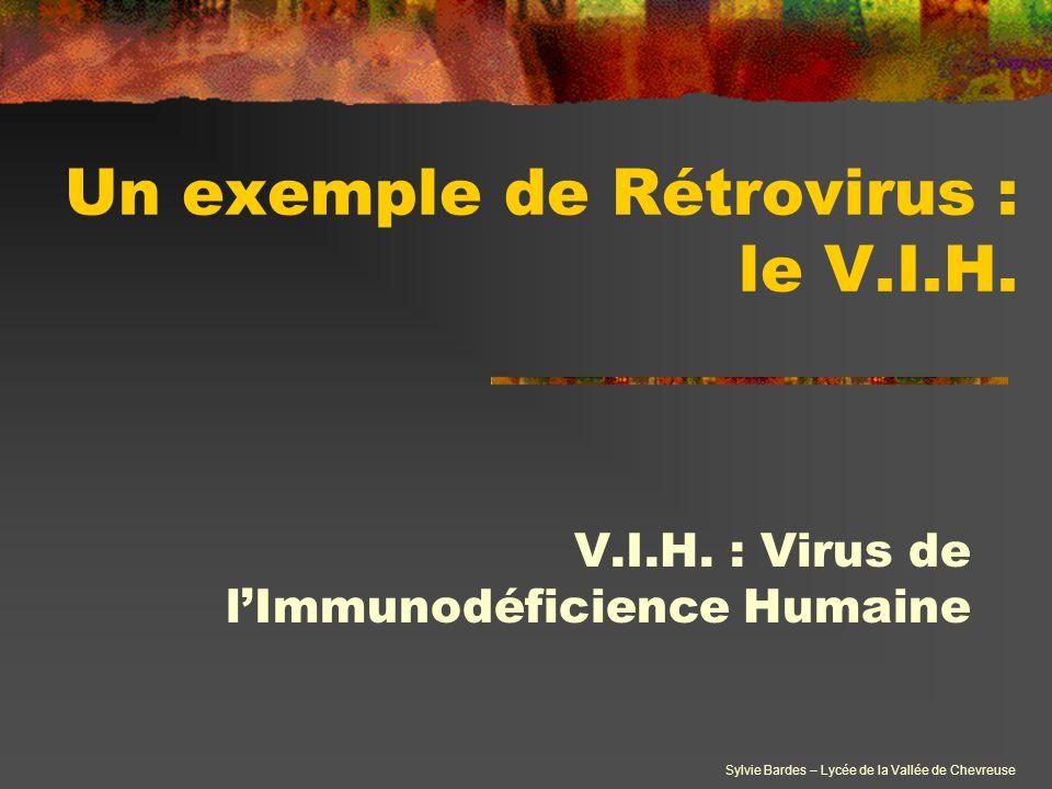 Sylvie Bardes – Lycée de la Vallée de Chevreuse Un exemple de Rétrovirus : le V.I.H. V.I.H. : Virus de l'Immunodéficience Humaine