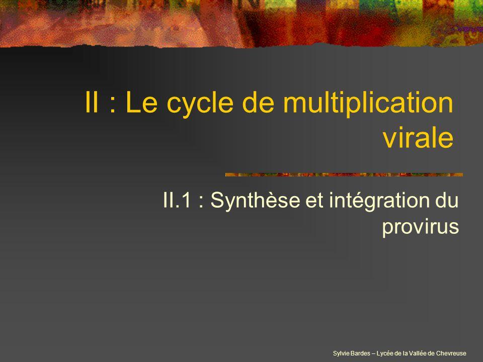 Sylvie Bardes – Lycée de la Vallée de Chevreuse II : Le cycle de multiplication virale II.1 : Synthèse et intégration du provirus
