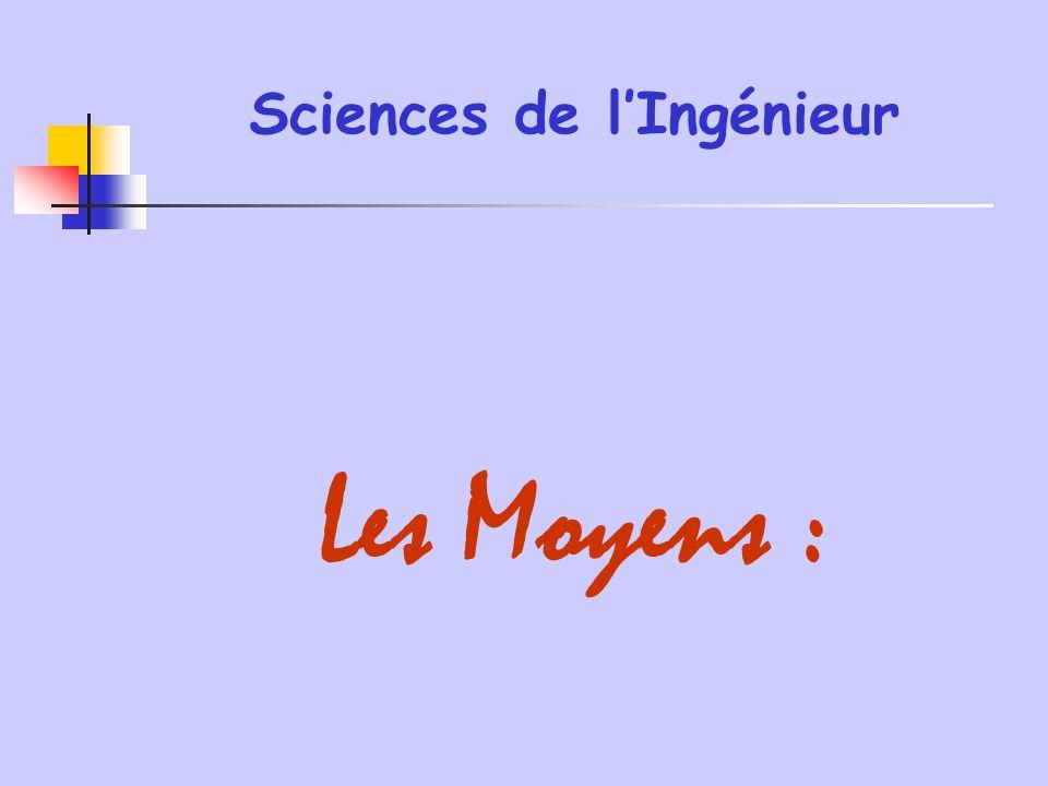 Sciences de l'Ingénieur Les Moyens :