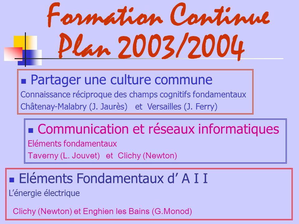 Formation Continue Plan 2003/2004 Communication et réseaux informatiques Eléments fondamentaux Taverny (L.