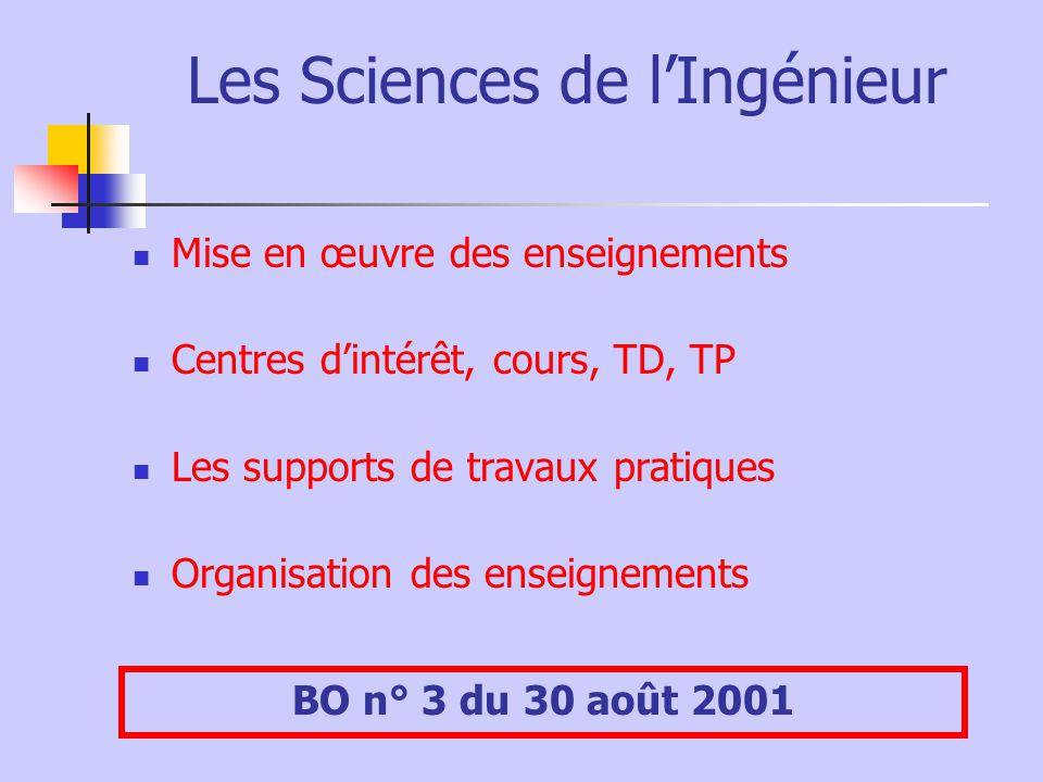 Les Sciences de l'Ingénieur Mise en œuvre des enseignements Centres d'intérêt, cours, TD, TP Les supports de travaux pratiques Organisation des enseignements BO n° 3 du 30 août 2001