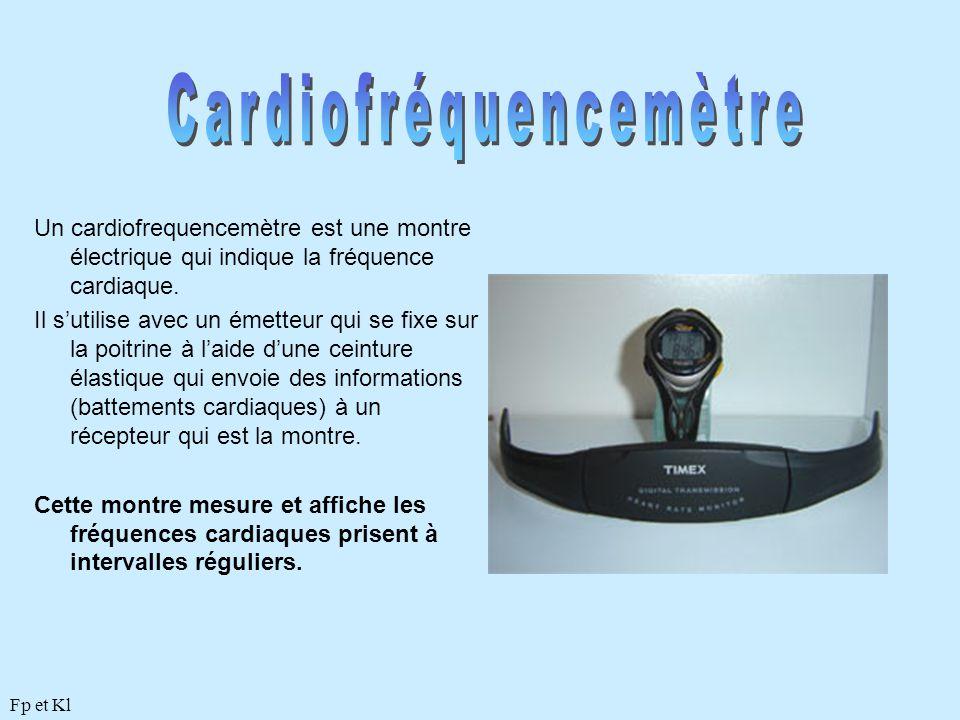 Un cardiofrequencemètre est une montre électrique qui indique la fréquence cardiaque. Il s'utilise avec un émetteur qui se fixe sur la poitrine à l'ai