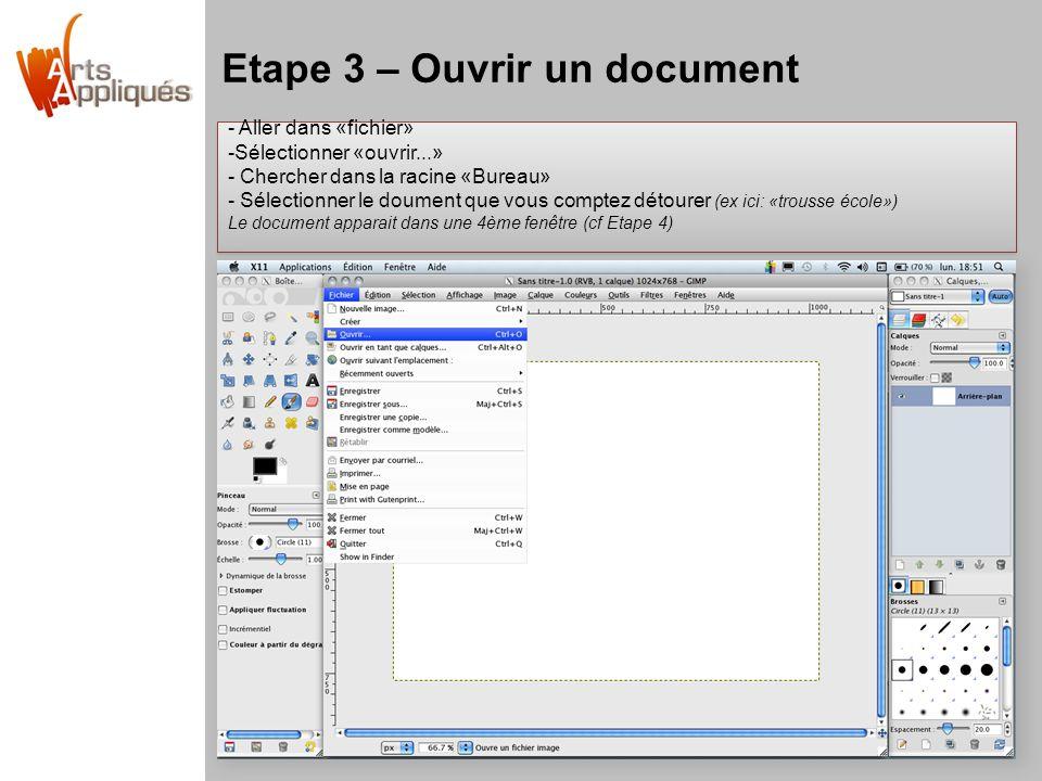 Etape 3 – Ouvrir un document - Aller dans «fichier» -Sélectionner «ouvrir...» - Chercher dans la racine «Bureau» - Sélectionner le doument que vous comptez détourer (ex ici: «trousse école») Le document apparait dans une 4ème fenêtre (cf Etape 4) - Aller dans «fichier» -Sélectionner «ouvrir...» - Chercher dans la racine «Bureau» - Sélectionner le doument que vous comptez détourer (ex ici: «trousse école») Le document apparait dans une 4ème fenêtre (cf Etape 4)