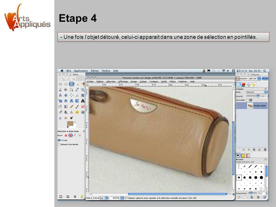 Etape 4 - Une fois l'objet détouré, celui-ci apparait dans une zone de sélection en pointillés.