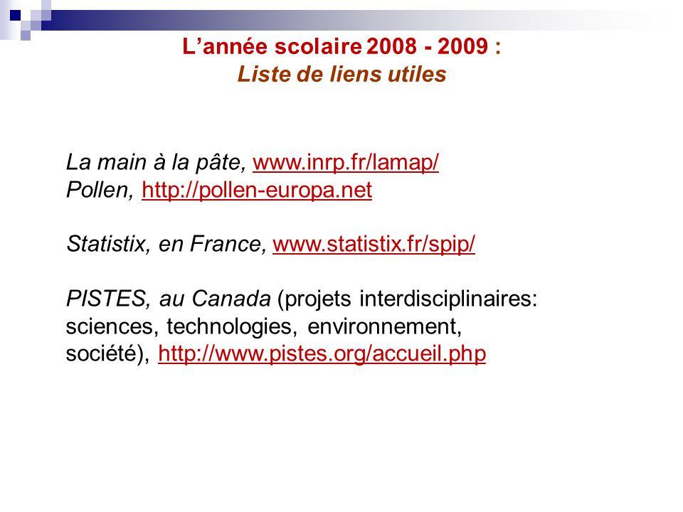L'année scolaire 2008 - 2009 : Liste de liens utiles La main à la pâte, www.inrp.fr/lamap/www.inrp.fr/lamap/ Pollen, http://pollen-europa.nethttp://po