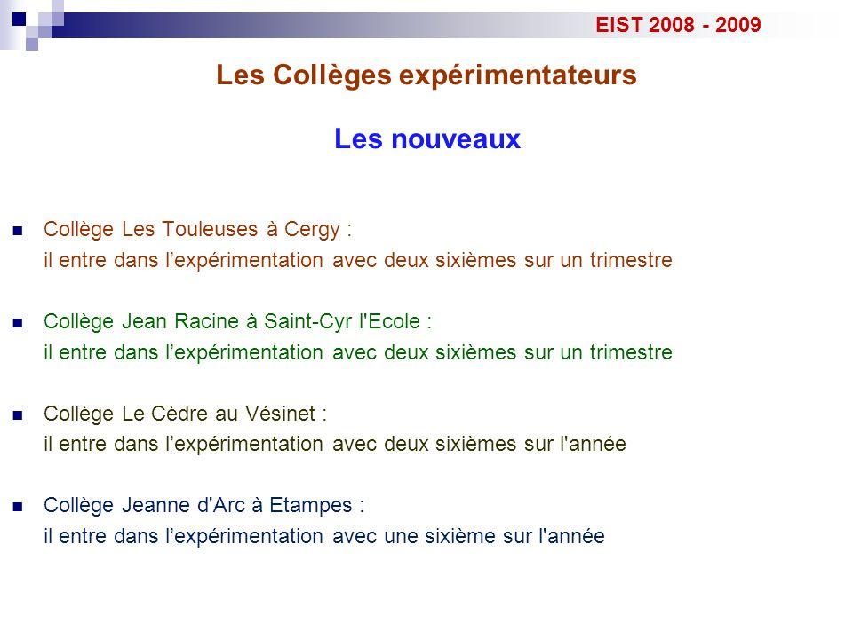 Les Collèges expérimentateurs EIST 2008 - 2009 Collège Jean Racine - Saint Cyr l Ecole : ce.0780186D@ac-versailles.frIPR (en gras le référent) Responsable :TechnologieJulien ViudesDominique Pétrella Marie Le Barazer principale adjointeSVTAline MargotMichel Coste SPCMartine VieillotMichel Vigneron Collège du Cèdre - Le Vésinet : ce.0781105C@ac-versailles.frIPR (en gras le référent) Responsable :TechnologieCyril VilpoixClaude Garnier Catherine MARY principaleSVTNicole LetorGabrielle Guillaume SPCAgnès BonnefondGeneviève Gaboriau Collège Les Touleuses - Cergy : ce.0950937C@ac-versailles.frIPR (en gras le référent) Responsable :TechnologieM.