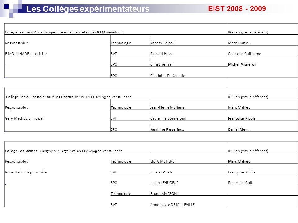 Les Collèges expérimentateurs EIST 2008 - 2009 Collège Jeanne d'Arc - Etampes : jeanne.d.arc.etampes.91@wanadoo.frIPR (en gras le référent) Responsabl