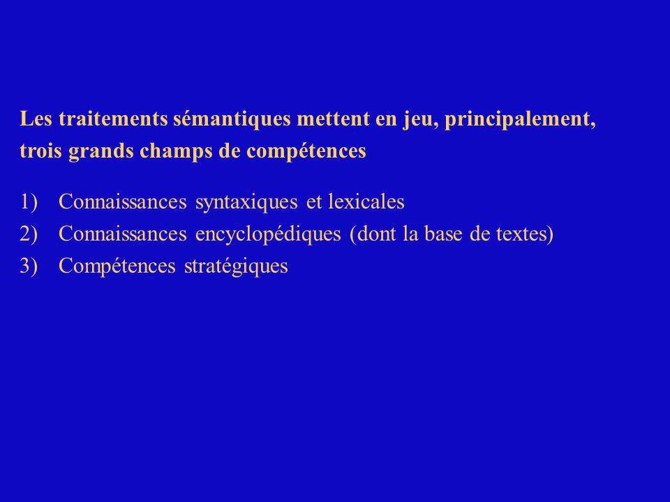 Les traitements sémantiques mettent en jeu, principalement, trois grands champs de compétences 1) Connaissances syntaxiques et lexicales 2) Connaissances encyclopédiques (dont la base de textes)