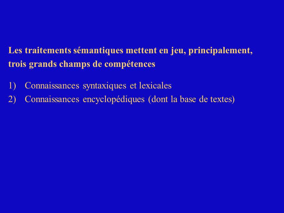 Les traitements sémantiques mettent en jeu, principalement, trois grands champs de compétences 1) Connaissances syntaxiques et lexicales