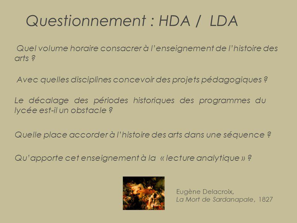 Questionnement : HDA / LDA Quel volume horaire consacrer à l'enseignement de l'histoire des arts ? Avec quelles disciplines concevoir des projets péda