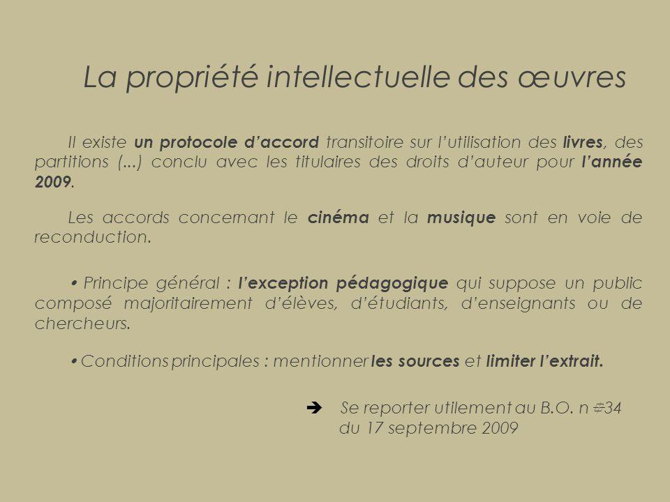 La propriété intellectuelle des œuvres Il existe un protocole d'accord transitoire sur l'utilisation des livres, des partitions (...) conclu avec les