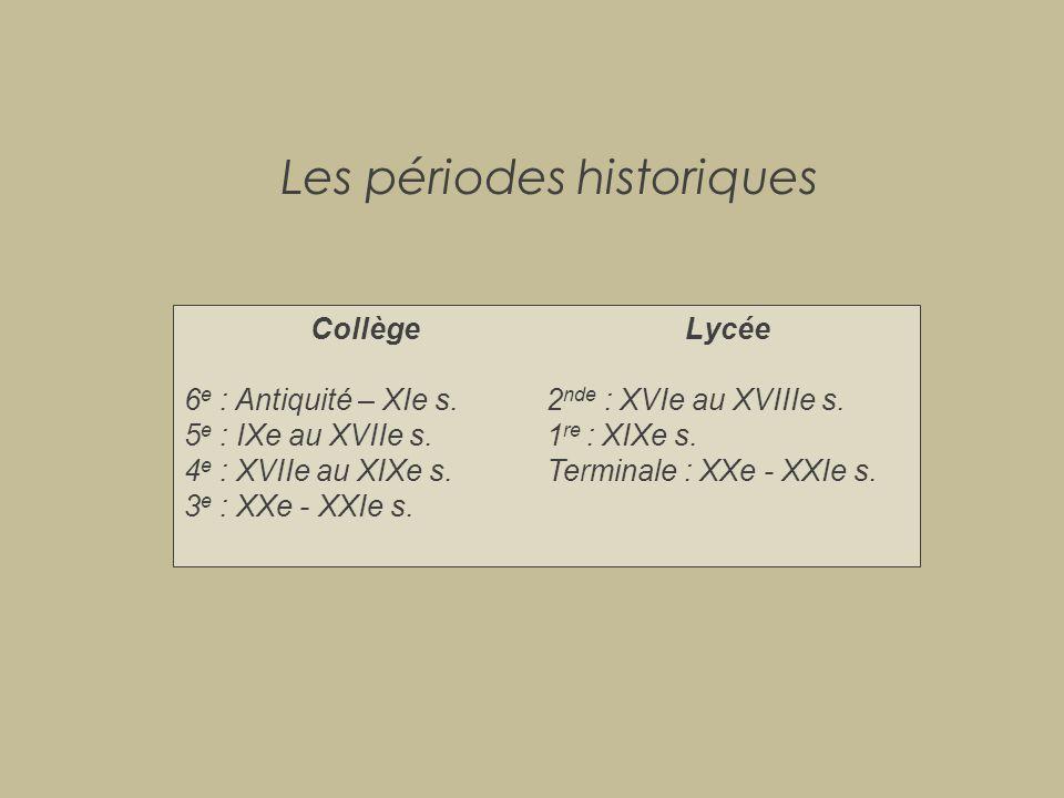 Les périodes historiques Collège 6 e : Antiquité – XIe s. 5 e : IXe au XVIIe s. 4 e : XVIIe au XIXe s. 3 e : XXe - XXIe s. Lycée 2 nde : XVIe au XVIII