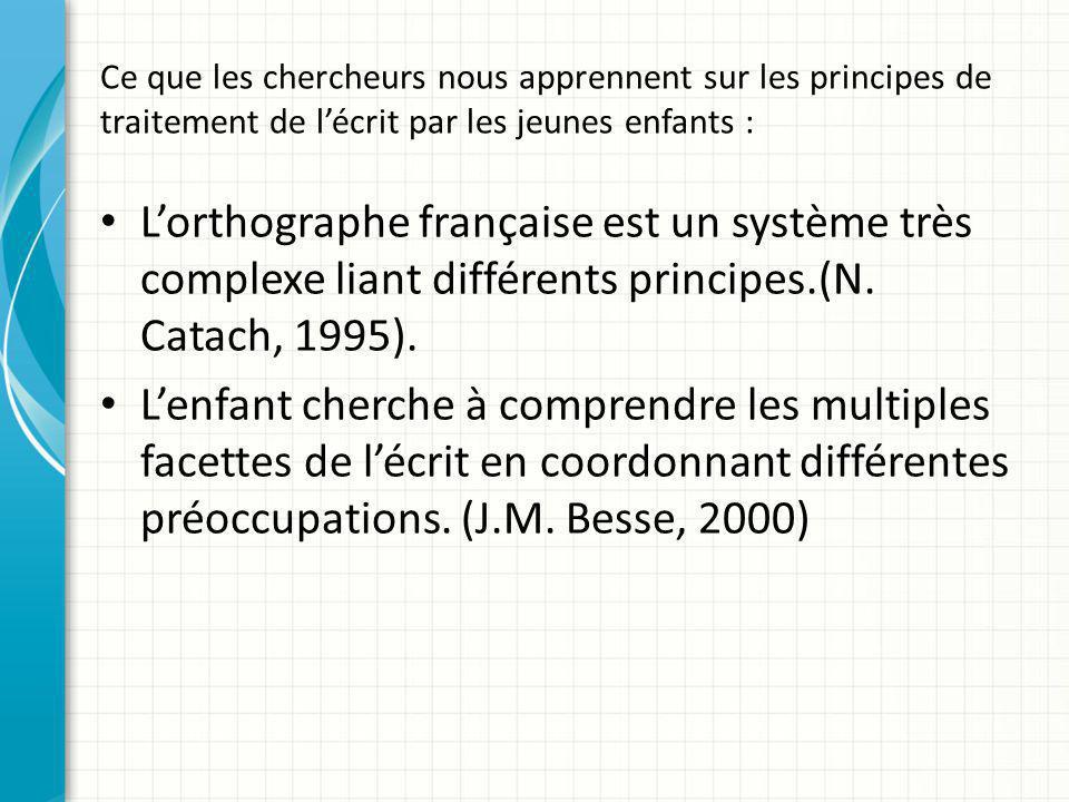 Ce que les chercheurs nous apprennent sur les principes de traitement de l'écrit par les jeunes enfants : L'orthographe française est un système très