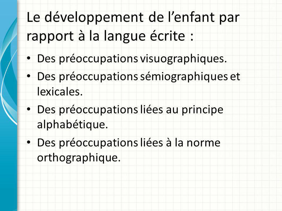 Le développement de l'enfant par rapport à la langue écrite : Des préoccupations visuographiques. Des préoccupations sémiographiques et lexicales. Des