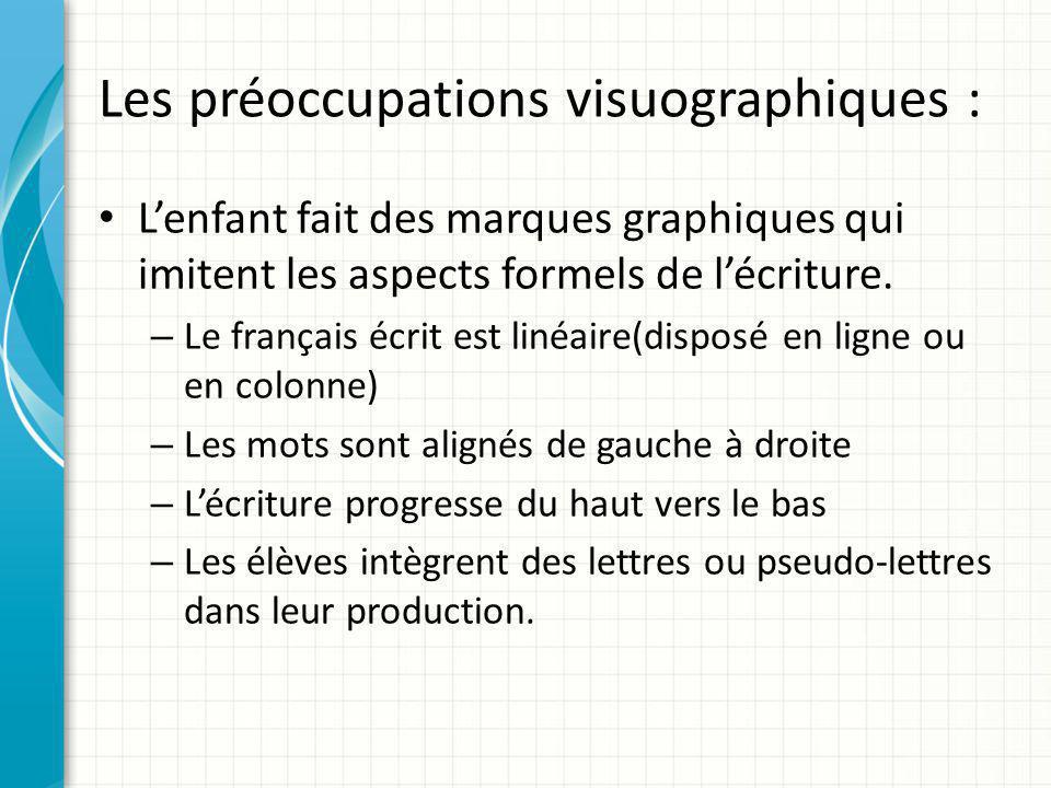 Les préoccupations visuographiques : L'enfant fait des marques graphiques qui imitent les aspects formels de l'écriture. – Le français écrit est linéa