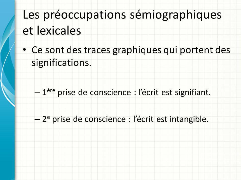 Les préoccupations sémiographiques et lexicales Ce sont des traces graphiques qui portent des significations. – 1 ère prise de conscience : l'écrit es