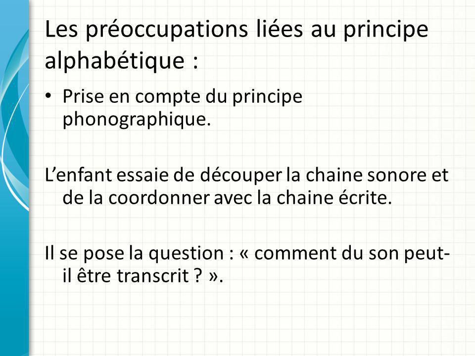 Les préoccupations liées au principe alphabétique : Prise en compte du principe phonographique. L'enfant essaie de découper la chaine sonore et de la