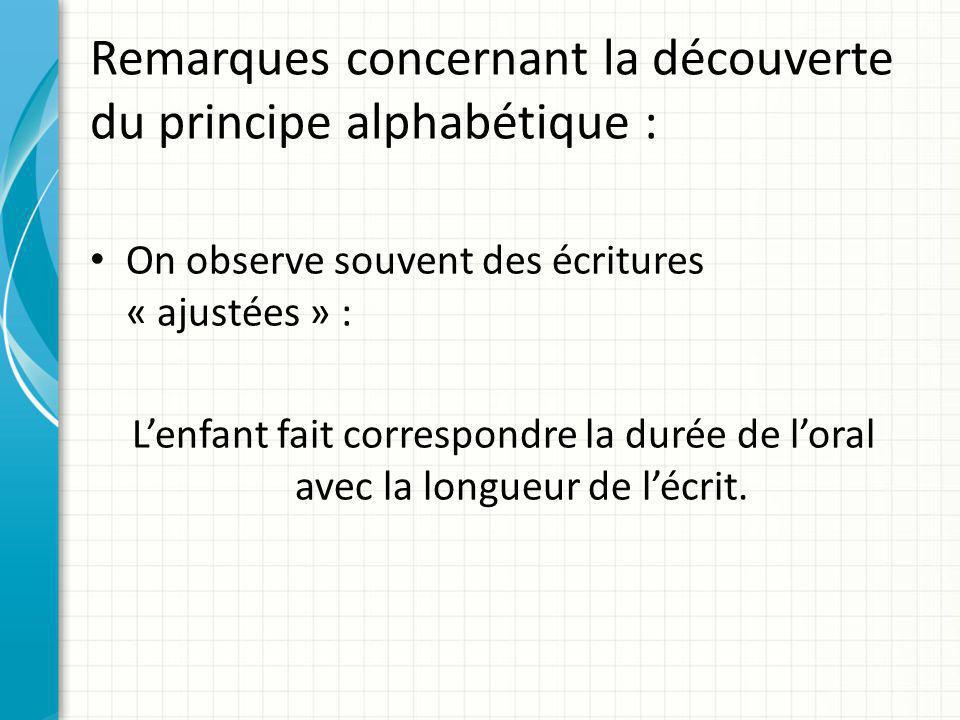 Remarques concernant la découverte du principe alphabétique : On observe souvent des écritures « ajustées » : L'enfant fait correspondre la durée de l