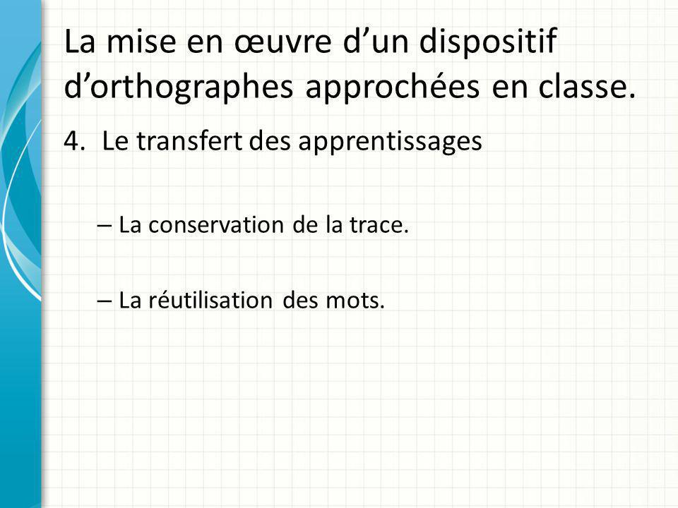 La mise en œuvre d'un dispositif d'orthographes approchées en classe. 4.Le transfert des apprentissages – La conservation de la trace. – La réutilisat
