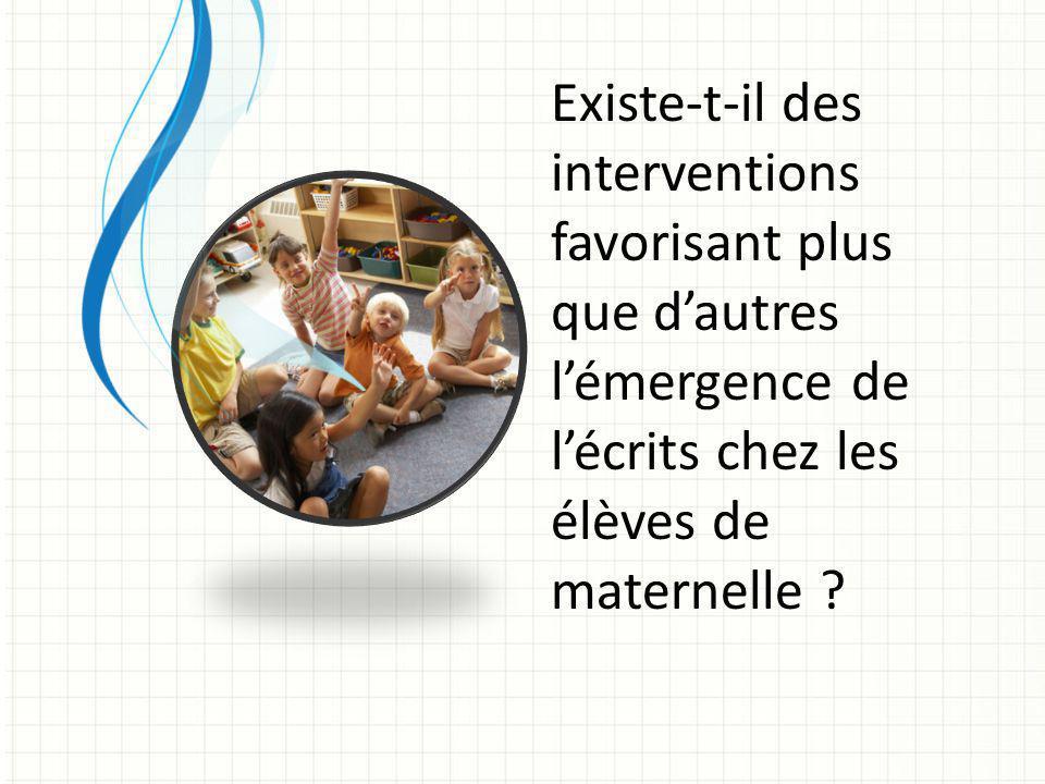 Existe-t-il des interventions favorisant plus que d'autres l'émergence de l'écrits chez les élèves de maternelle ?