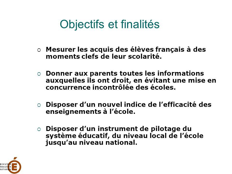 Objectifs et finalités  Mesurer les acquis des élèves français à des moments clefs de leur scolarité.  Donner aux parents toutes les informations au
