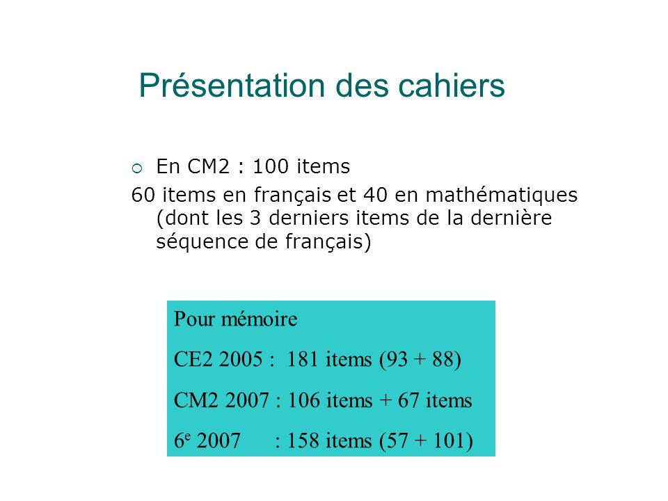  En CM2 : 100 items 60 items en français et 40 en mathématiques (dont les 3 derniers items de la dernière séquence de français) Pour mémoire CE2 2005 : 181 items (93 + 88) CM2 2007 : 106 items + 67 items 6 e 2007 : 158 items (57 + 101) Présentation des cahiers
