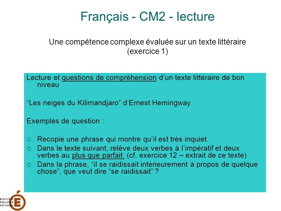 Français - CM2 - lecture Une compétence complexe évaluée sur un texte littéraire (exercice 1) Lecture et questions de compréhension d'un texte littéraire de bon niveau Les neiges du Kilimandjaro d'Ernest Hemingway Exemples de question :  Recopie une phrase qui montre qu'il est très inquiet.