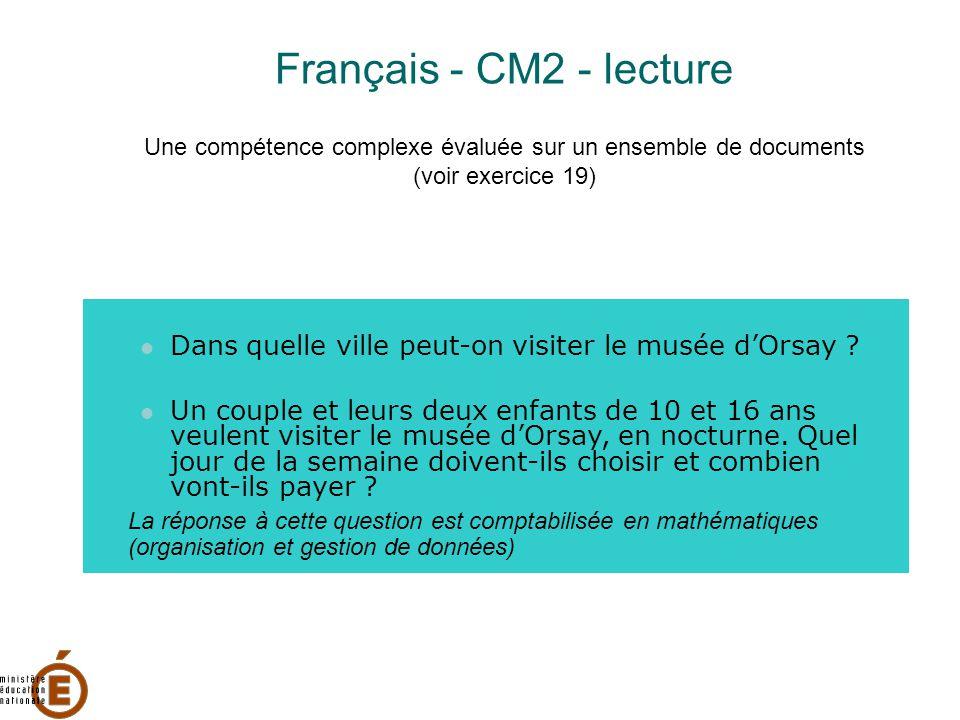 Français - CM2 - lecture Une compétence complexe évaluée sur un ensemble de documents (voir exercice 19) Dans quelle ville peut-on visiter le musée d'Orsay .