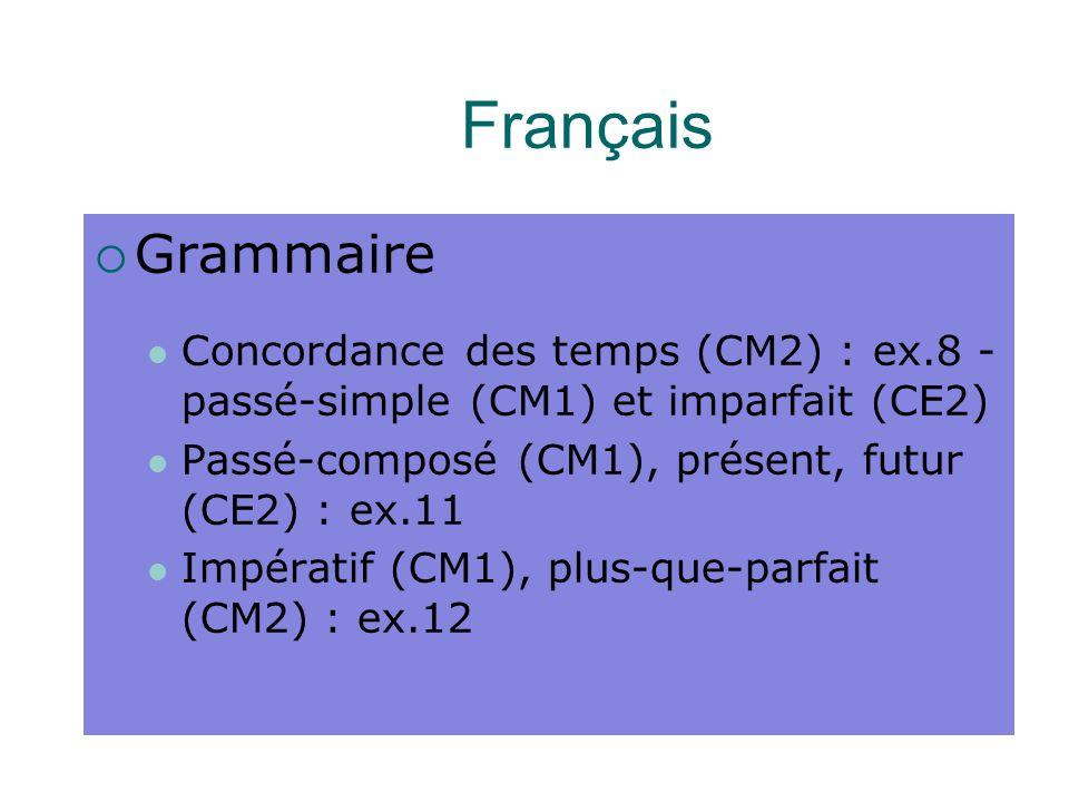 Français  Grammaire Concordance des temps (CM2) : ex.8 - passé-simple (CM1) et imparfait (CE2) Passé-composé (CM1), présent, futur (CE2) : ex.11 Impératif (CM1), plus-que-parfait (CM2) : ex.12