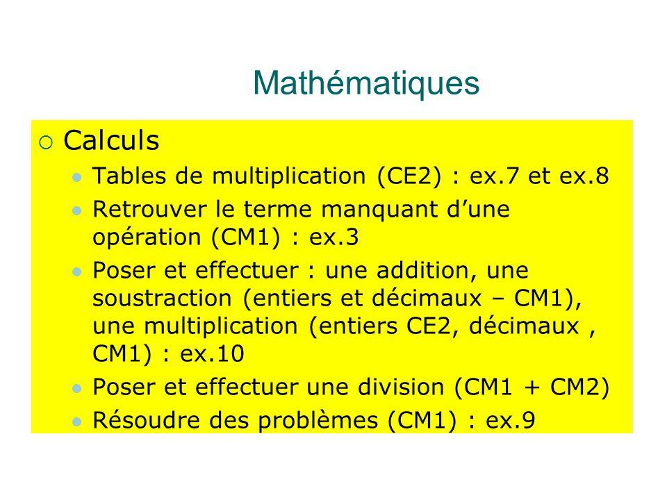Mathématiques  Calculs Tables de multiplication (CE2) : ex.7 et ex.8 Retrouver le terme manquant d'une opération (CM1) : ex.3 Poser et effectuer : une addition, une soustraction (entiers et décimaux – CM1), une multiplication (entiers CE2, décimaux, CM1) : ex.10 Poser et effectuer une division (CM1 + CM2) Résoudre des problèmes (CM1) : ex.9