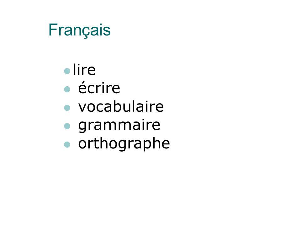 Français lire écrire vocabulaire grammaire orthographe