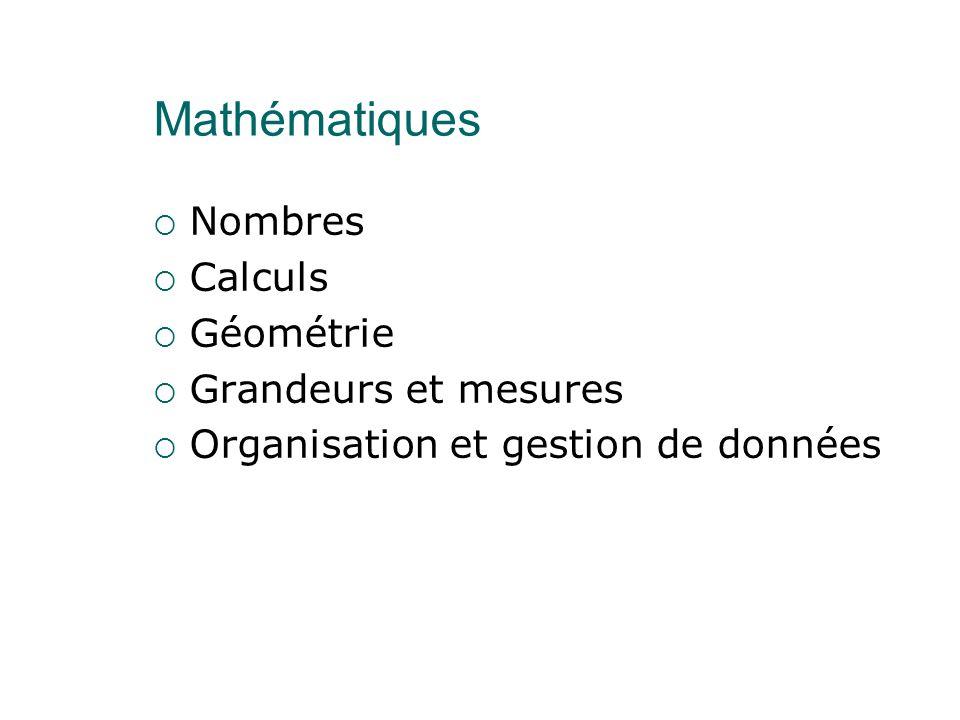 Mathématiques  Nombres  Calculs  Géométrie  Grandeurs et mesures  Organisation et gestion de données