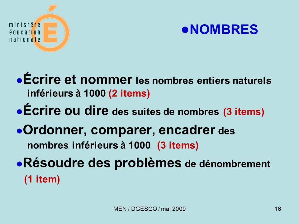 16 ● NOMBRES ● Écrire et nommer les nombres entiers naturels inférieurs à 1000 (2 items) ● Écrire ou dire des suites de nombres (3 items) ● Ordonner,