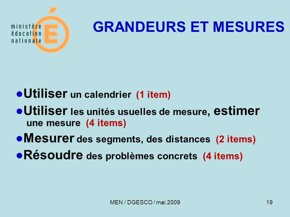 19 GRANDEURS ET MESURES ●Utiliser un calendrier (1 item) ●Utiliser les unités usuelles de mesure, estimer une mesure (4 items) ●Mesurer des segments,