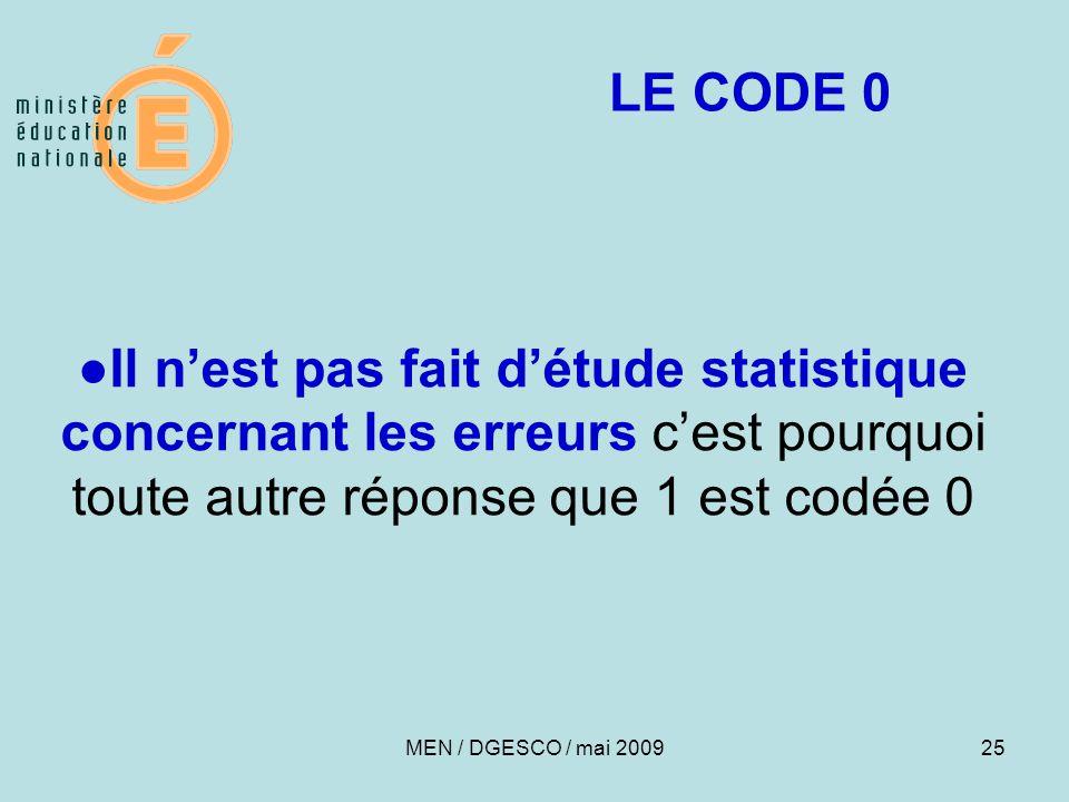 25 ●Il n'est pas fait d'étude statistique concernant les erreurs c'est pourquoi toute autre réponse que 1 est codée 0 LE CODE 0 MEN / DGESCO / mai 2009