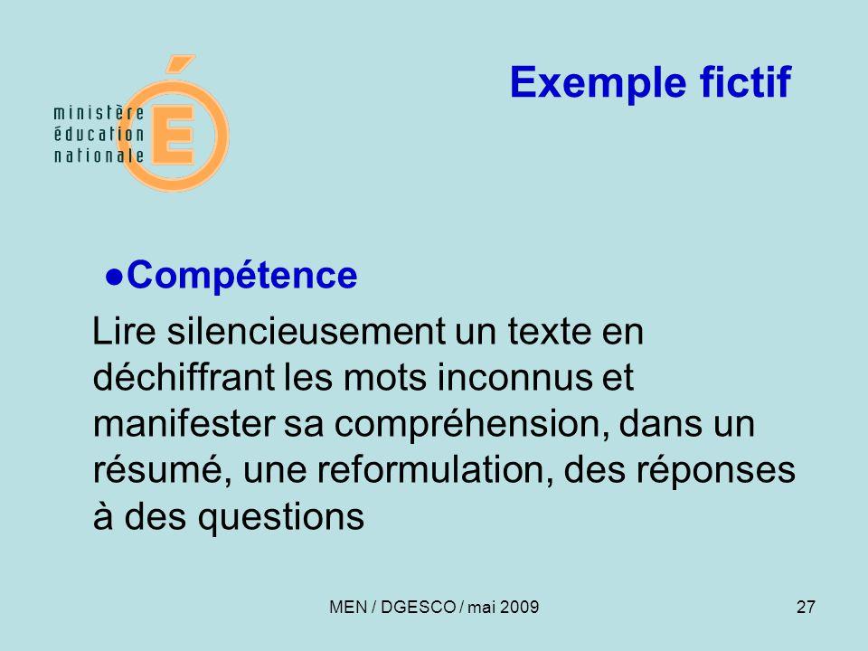 27 Exemple fictif ●Compétence Lire silencieusement un texte en déchiffrant les mots inconnus et manifester sa compréhension, dans un résumé, une reformulation, des réponses à des questions MEN / DGESCO / mai 2009