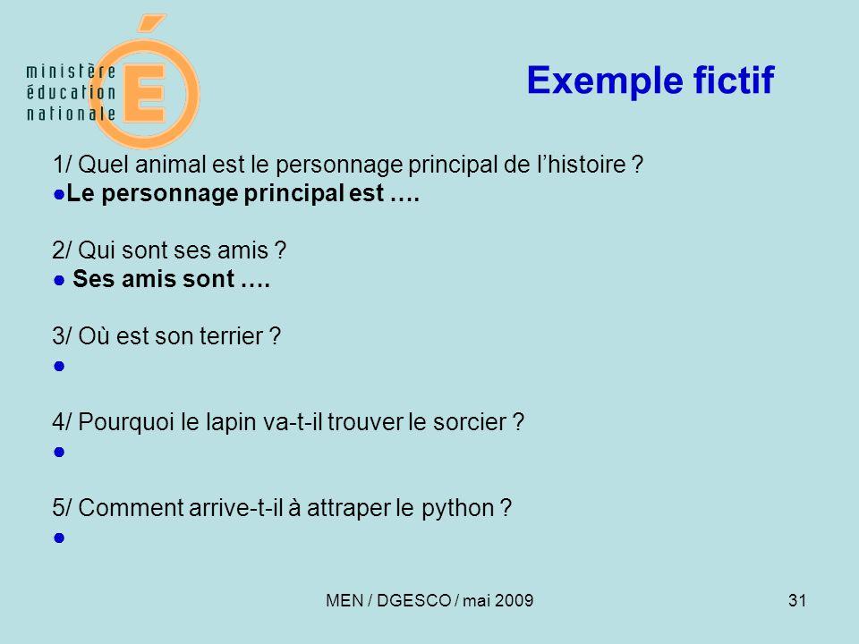 31 Exemple fictif 1/ Quel animal est le personnage principal de l'histoire .