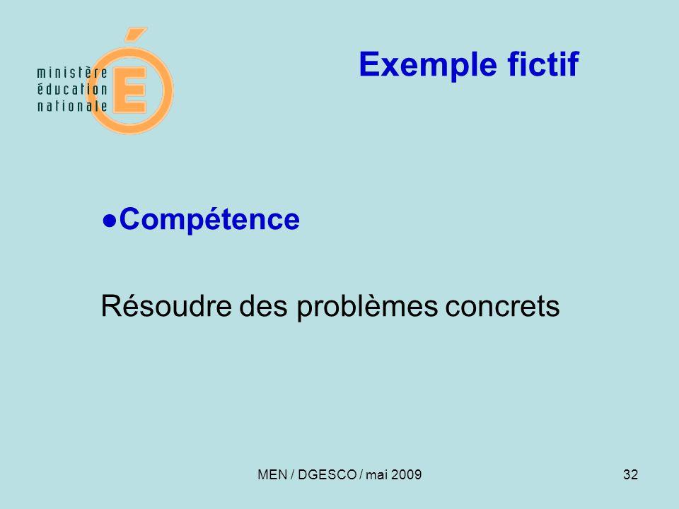 32 Exemple fictif ●Compétence Résoudre des problèmes concrets MEN / DGESCO / mai 2009